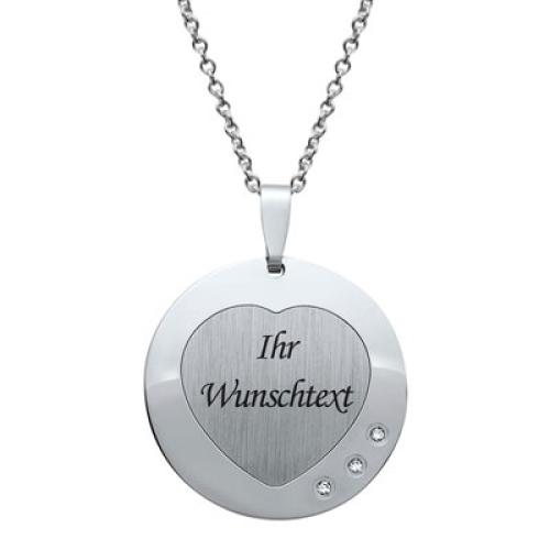 Anhänger Silber Herz mit Gravur  - 9211