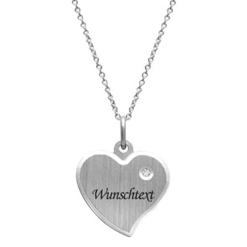 Anhänger Silber Herz mit Gravur  - 9215