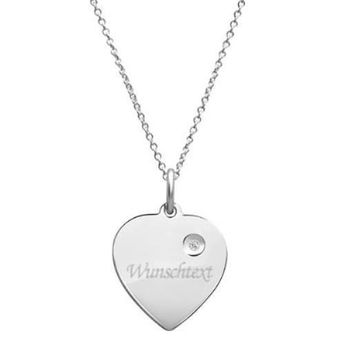 Anhänger Silber Herz mit Gravur  - 9217