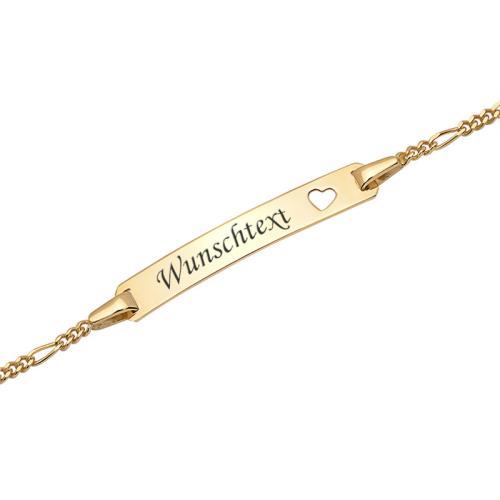 Goldarmband mit Gravurplatte - 9378