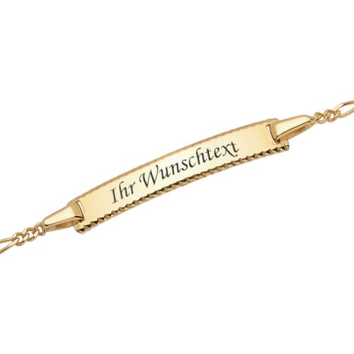 Goldarmband mit Gravurplatte - 9379