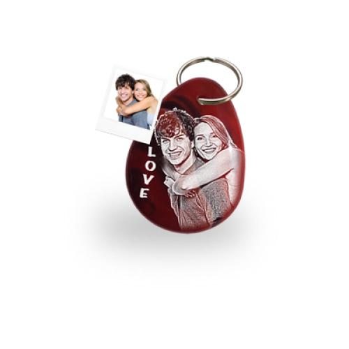 Schlüsselanhänger Achat Rot mit Fotogravur