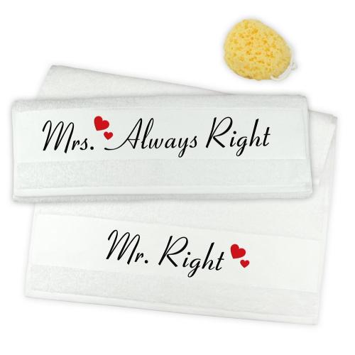 Handtuch 2er Set Mr. Right & Mrs. Always Right Herzen
