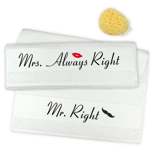 Handtuch 2er Set Mr. Right & Mrs. Always Right Schnauzer Mund