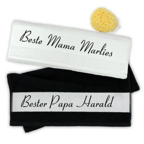Handtuch 2er Set bester Papa / beste Mama mit Namen
