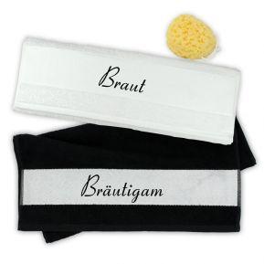 Handtuch 2er Set Braut und Bräutigam