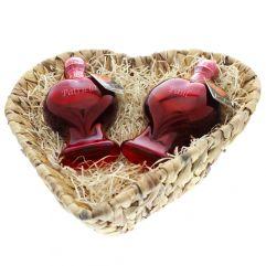 Glühende Herzflaschen mit Gravur