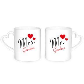 """""""Mr. & Mrs."""" Herztassen mit Namen"""