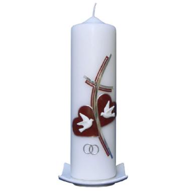 Hochzeitskerze Kreuz 2 Herzen weinrot