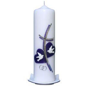 Hochzeitskerze Kreuz 2 Herzen lila