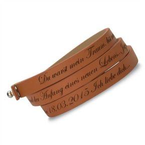 Wickelarmband Echt-Leder mit Gravur