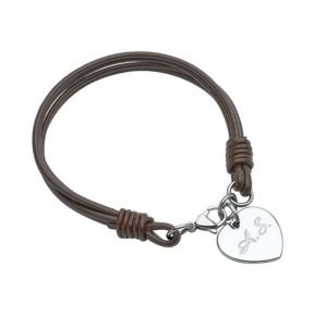 Armband Leder Herzmedaille