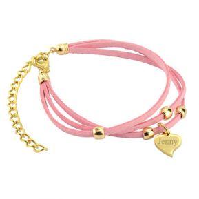 Armband Leder Herz - 9373