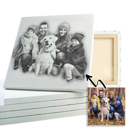 Porträt Stil Kohlezeichnung Familie
