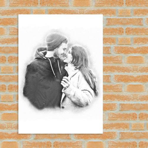 Porträt Stil Kohlezeichnung Paar