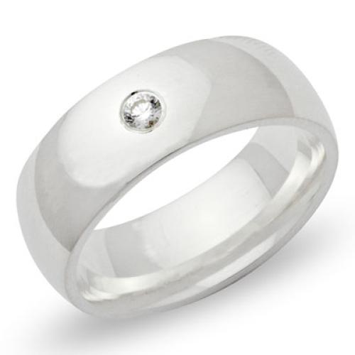 Ring Zirkonia Silber mit Gravur - 8539
