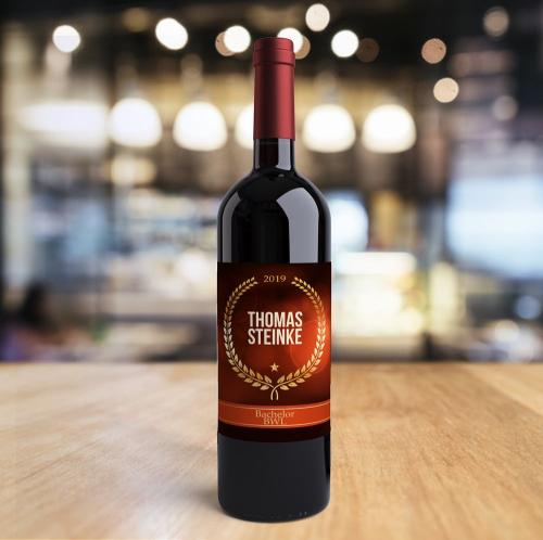 Weinflasche zum Abschluss mit Logo