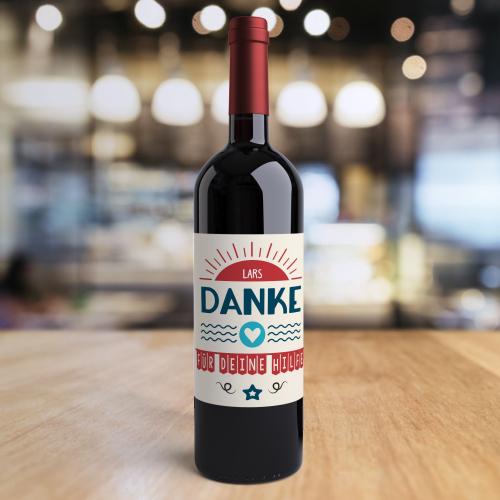 Weinflasche mit personalisiertem Logo