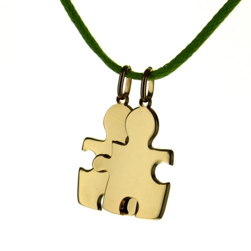 Anhänger Puzzle doppelt mit Name vergoldet
