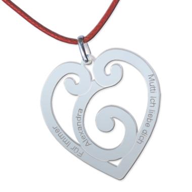 Anhänger Silber Herz mit Gravur