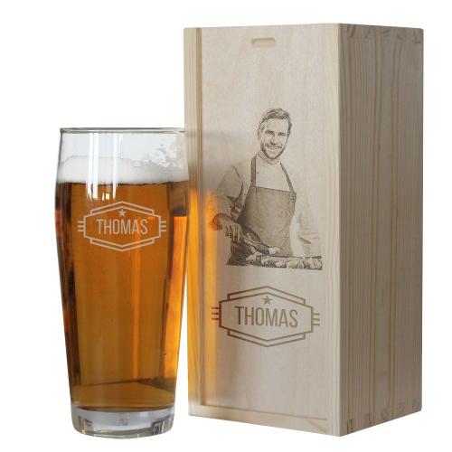 Bierglas Holzkiste mit Fotogravur