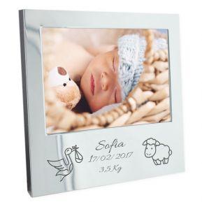 Bilderrahmen zur Geburt oder Taufe mit Gravur