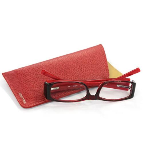 Brillenetui aus Leder mit Prägung