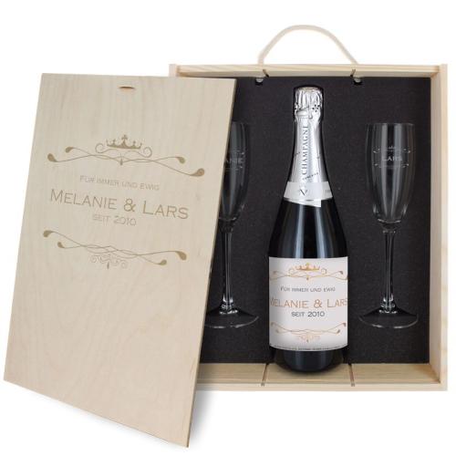Geschenk-Set Champagner Luxury mit Namensgravur