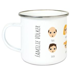 Personalisierte Emaille-Tasse We are Family