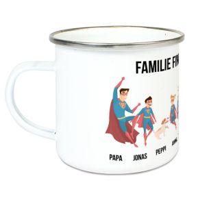 Personalisierte Emaille-Tasse Superhelden