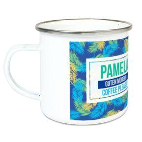 Personalisierte Emaille-Tasse Palmendesign