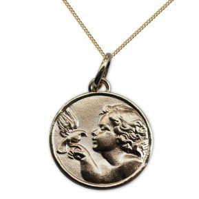 Vergoldetes Taufmedaillon Engel mit Friedenstaube mit Gravur
