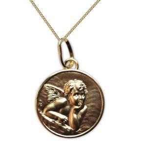 Vergoldetes Taufmedaillon Engel Raffael mit Gravur