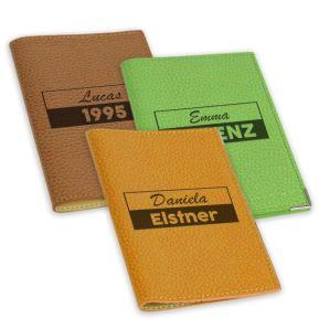 Etui Leder für Reisepass 2 Linie