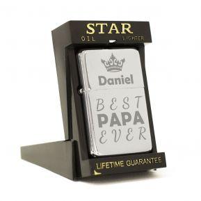 Feuerzeug Star mit Gravur für Papa
