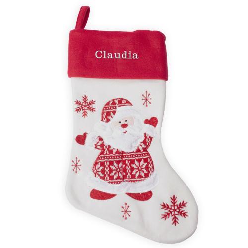 Nikolausstiefel aus Filz mit Strickmuster Weihnachtsmann