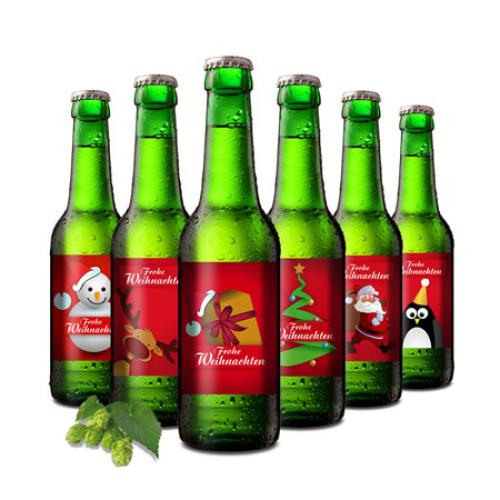 Weihnachts-Bier mit Geschenkträger
