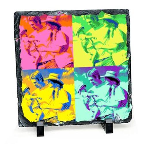 Foto auf Schieferplatte im Quadrat Pop Art