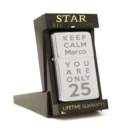 Feuerzeug Star Motiv Keep Calm