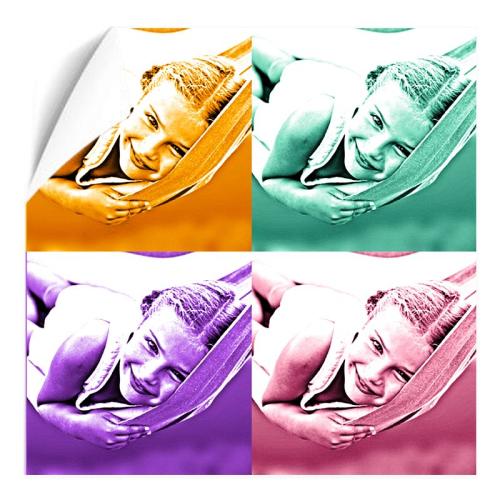 Fotoposter Quadrat 4 Fotos einfarbig