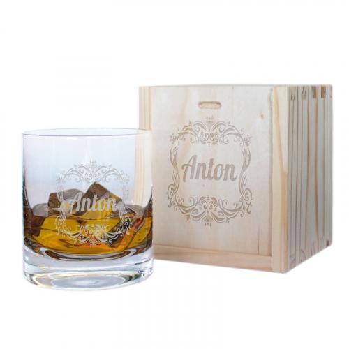 Geschenkset Whiskyglas mit Name Barock