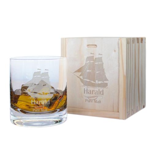 Geschenkset Whiskyglas des Seemanns mit Gravur