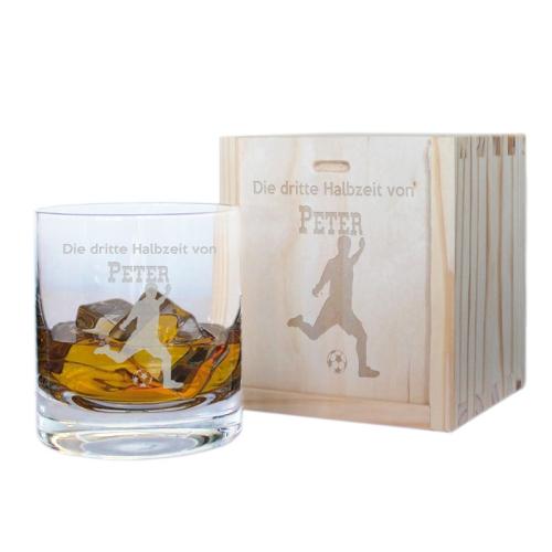 Geschenkset Whiskyglas mit Gravur für Sportler