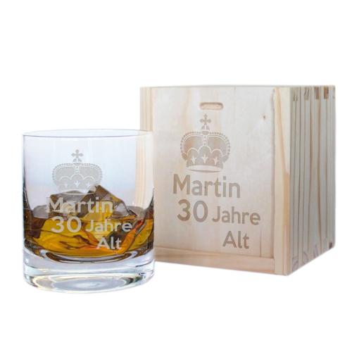 Geschenkset Whiskyglas mit Gravur zum Geburtstag