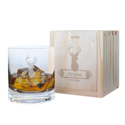 Geschenkset Whiskyglas mit Name Hirsch