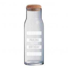 Personalisierte Glaskaraffe 1L mit Deckel