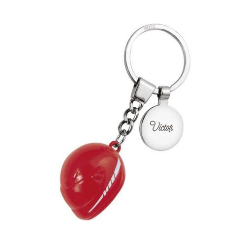 Gravierter Schlüsselanhänger - Motorradhelm rot
