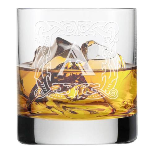 Graviertes Whiskyglas mit Initialen Antiqua
