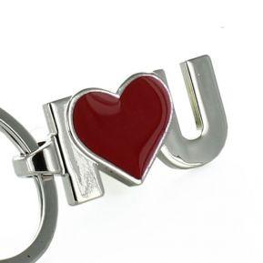 Personalisierter Schlüsselanhänger I Love U rot