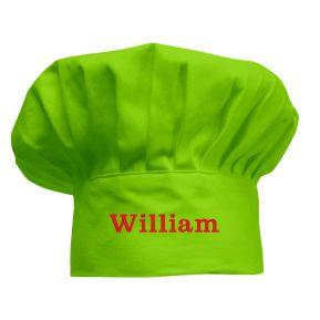 Bestickte Kochmütze für Kinder apfelgrün